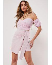 Missguided Blush Co Ord Grid Plaid Wrap Bardot Crop Top - Pink