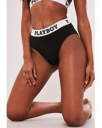 Missguided Soutien-Gorge Noir à Coupe Triangle et Bande à Inscriptions Playboy Playboy x