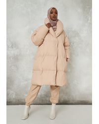Missguided Cream Square Quilted Puffer Coat - Natural