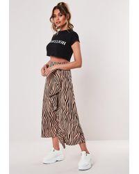 Missguided Tall Brown Zebra Print Frill Midi Skirt