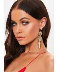 Missguided - Gold Look Coin Cross Drop Earrings - Lyst