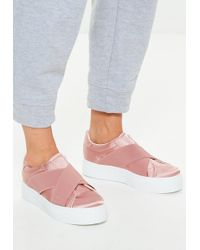 Missguided - Pink Cross Strap Elastic Flatform Sneakers - Lyst