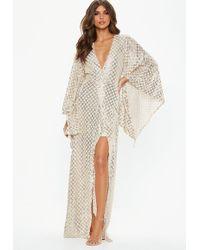 Missguided - Gold Kimono Sequin Wrap Maxi Dress - Lyst