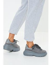 Missguided - Grey Double Sole Lace Up Trainers - Lyst