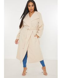 Missguided Size Tan Covered Buckle Belted Formal Coat - Natural