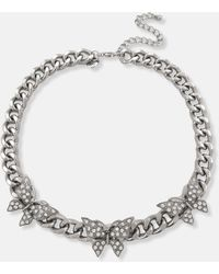 Missguided Look Diamante Butterfly Chain Necklace - Metallic