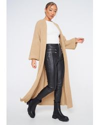 Missguided Camel Batwing Maxi Knit Cardigan - Multicolour
