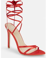 Missguided Red Satin Lace Up Heeled Sandals