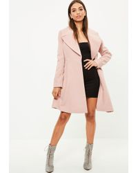 Missguided - Nude Belated Short Wool Skater Coat - Lyst