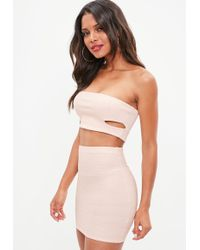 Missguided - Nude Ribbed Bandeau Crop Top - Lyst