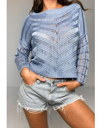Missguided Plus Size Blue Crochet Knit Cropped Sweater