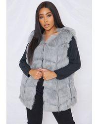 Missguided Plus Size Gray Faux Fur Bubble Tank Top