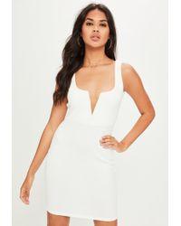 Missguided - White V Bar Crepe Mini Dress - Lyst