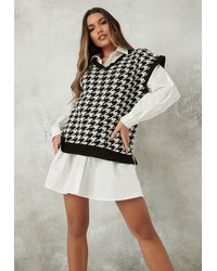 Missguided Houndstooth V Neck Sleeveless Knitted Tunic - Black