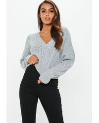 Missguided - Grey V Neck Cable Knitted Cropped Jumper - Lyst