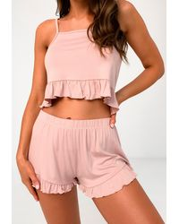 Missguided Pink Square Neck Cami And Frill Shorts Pajama Set
