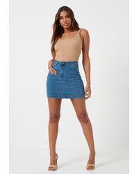 Missguided Blue Super Stretch Denim Mini Skirt