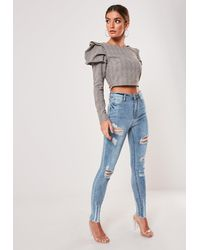 Missguided Tall Blue High Waisted Authentic Ripped Skinny Jeans