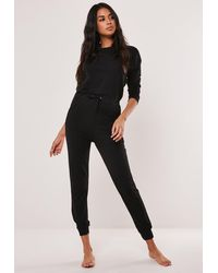 Missguided Black Casual Slouch Loungewear Jumpsuit