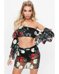 078eba40ffe6a5 Missguided - Tall Black Rose Embroidered Frill Sleeve Crop Top - Lyst