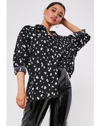 Missguided Tall Black Extreme Oversized Cow Print Shirt