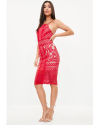 Missguided - Red Strappy Square Neck Midi Dress - Lyst