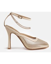 Missguided Square Toe Fishnet Heels - Natural