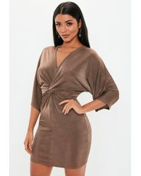 105bb4fbc6bf Missguided - Chocolate Kimono Sleeve Twist Front Midi Dress - Lyst