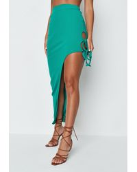 Missguided Green Ribbed Tie Side Maxi Skirt