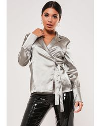 Missguided Wrap Front Satin Blouse - Metallic