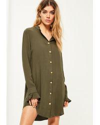 Missguided - Khaki Gold Button Deep Cuff Shirt Dress - Lyst