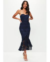 Missguided - Blue Lace Fishtail Maxi Dress - Lyst