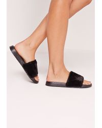 Missguided Faux Fur Sliders Black