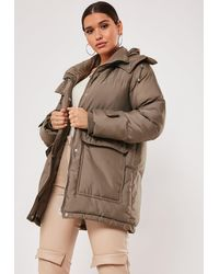 Missguided Khaki Patch Pocket Hooded Padded Coat - Natural