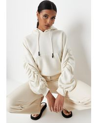 Missguided Petite Ruched Sleeve Oversized Hoodie - Multicolor