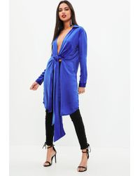 Missguided - Blue Satin Twist Front Longline Shirt - Lyst