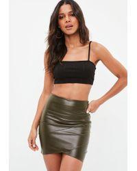 Missguided - Khaki Faux Leather Wrap Front Mini Skirt - Lyst