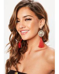 Missguided - Red Tassel Earrings - Lyst