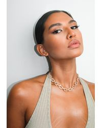 Missguided Gold Look Crystal Pave Link Necklace - Metallic
