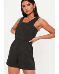 c7b2a47aa4d Lyst - Missguided Black Sequin Cami Playsuit in Black