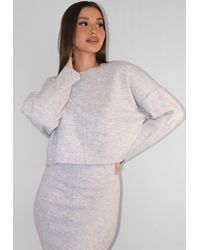 Missguided Recycled Gray Co Ord Seam Front Knitted Sweater