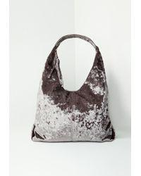 Missguided Gray Velvet Slouch Tote Bag