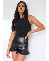 Missguided Faux Leather Ruffle Hem Shorts - Black