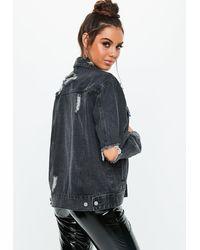 Missguided Black Distressed Oversized Boyfriend Denim Jacket