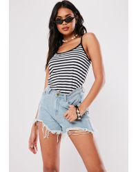 8ca848f529d95 Missguided Lace Up Rib Cami White in White - Lyst