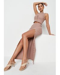 Missguided Ribbed Button Front Split Maxi Skirt - Brown