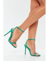 Missguided Teal Satin Barely There Heels - Multicolour