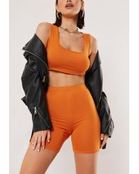 Missguided Orange Crop Top Cycling Shorts Co Ord Set