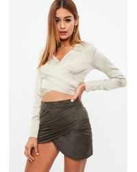 Missguided - Champagne Wrap Side Drape Blouse - Lyst