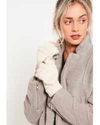 Missguided White Knitted Mittens